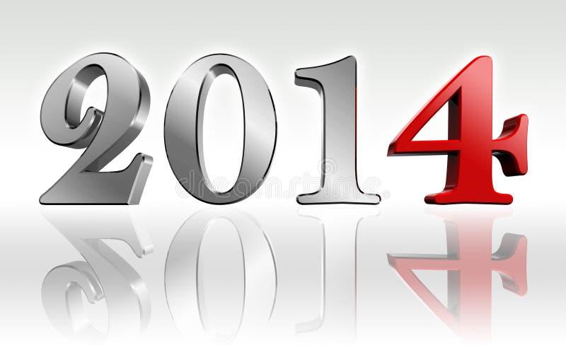 Metal del texto 3d del Año Nuevo 2014 y número del rojo cuatro libre illustration