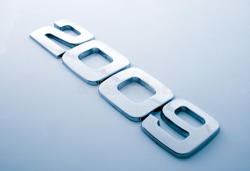 Metal digits - 2009. / blue tone royalty free stock image