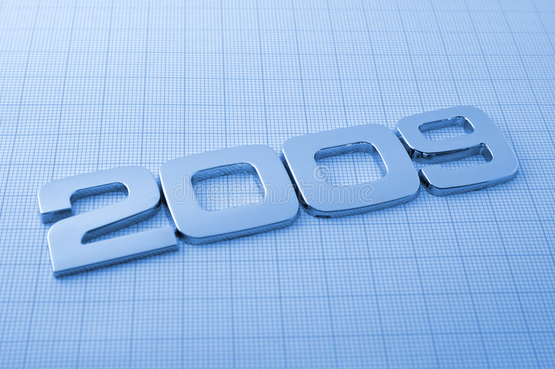 Metal digits - 2009. & technology background royalty free stock image