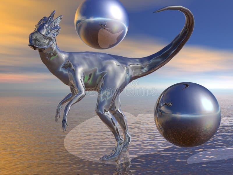 Metal Dilophosaurus stock de ilustración
