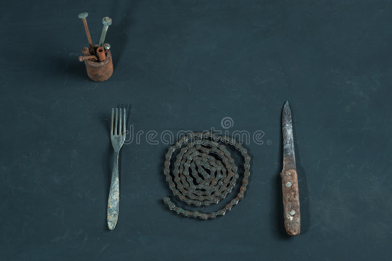 Metal dinner stock photos