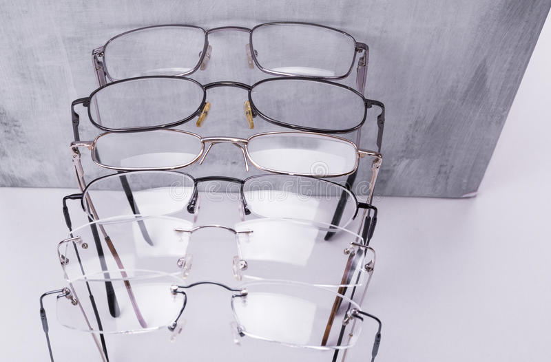 Metal dioptrical glasses unisex frame for men and women royalty free stock photos