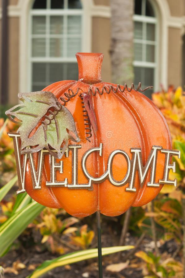 Metal display of a pumpkin and a welcome sign stock photos
