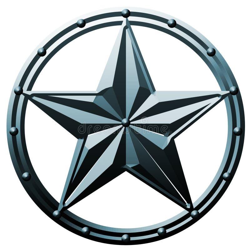 Metal do logotipo da estrela azul ilustração stock