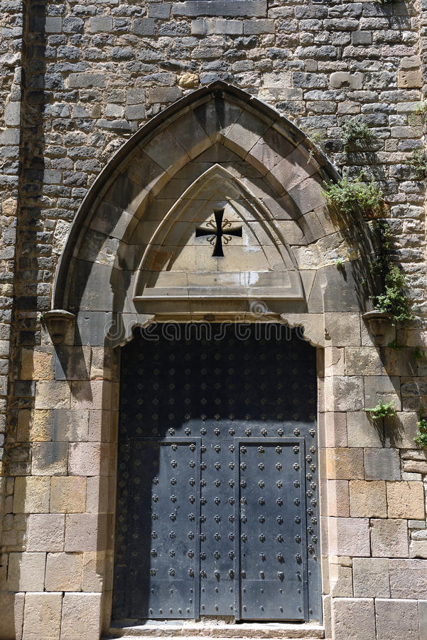 Metal door. Old metal door of a church in Barcelona stock images