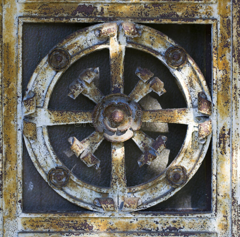 Metal Door Decoration (abstract nature pattern). Metal door decoration with abstract nature elements. Taken in Genoa, Italy. If needed I can provide also a .tiff royalty free stock photos