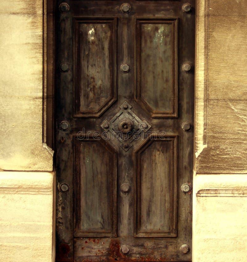 Metal door in desert stock image