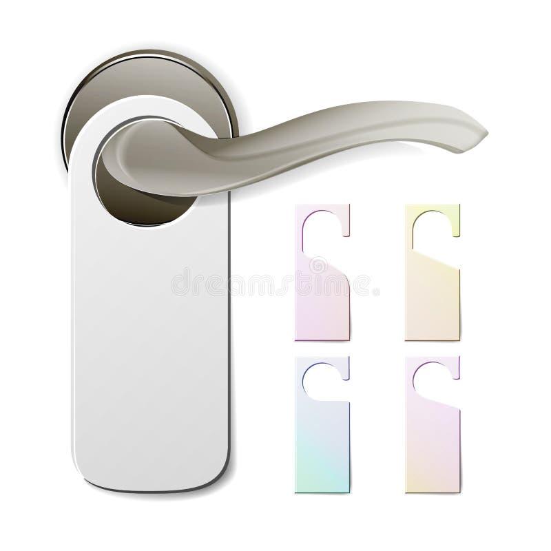 Metal Door Handle Lock With Hanger. Hostel, Hotel Hanger Sign. Door Knob. Do Not Disturb. Vector Illustration vector illustration