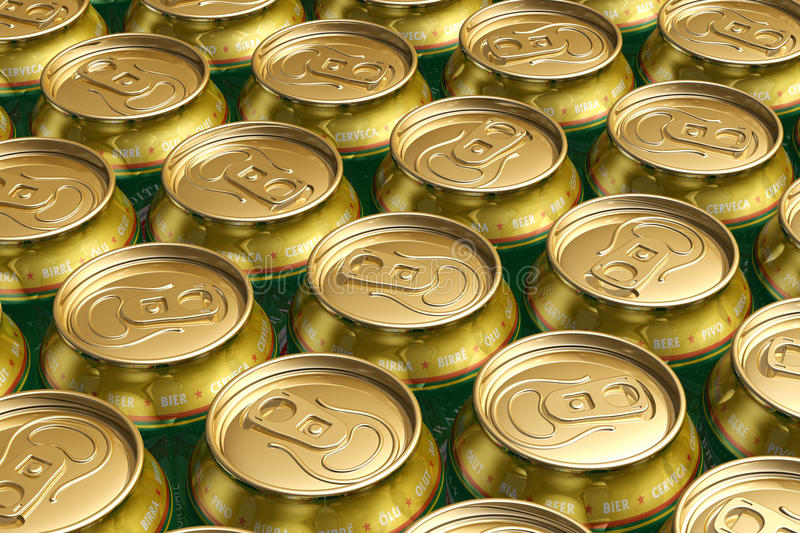 Metal drink cans with beer stock illustration