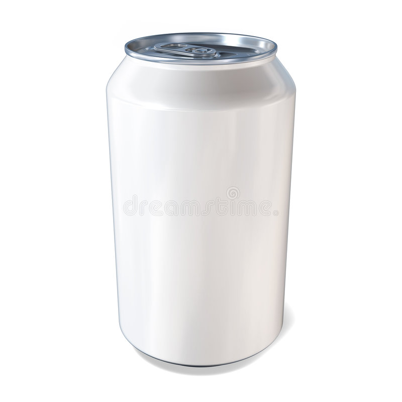 Metal Drinks Can in White stock illustration