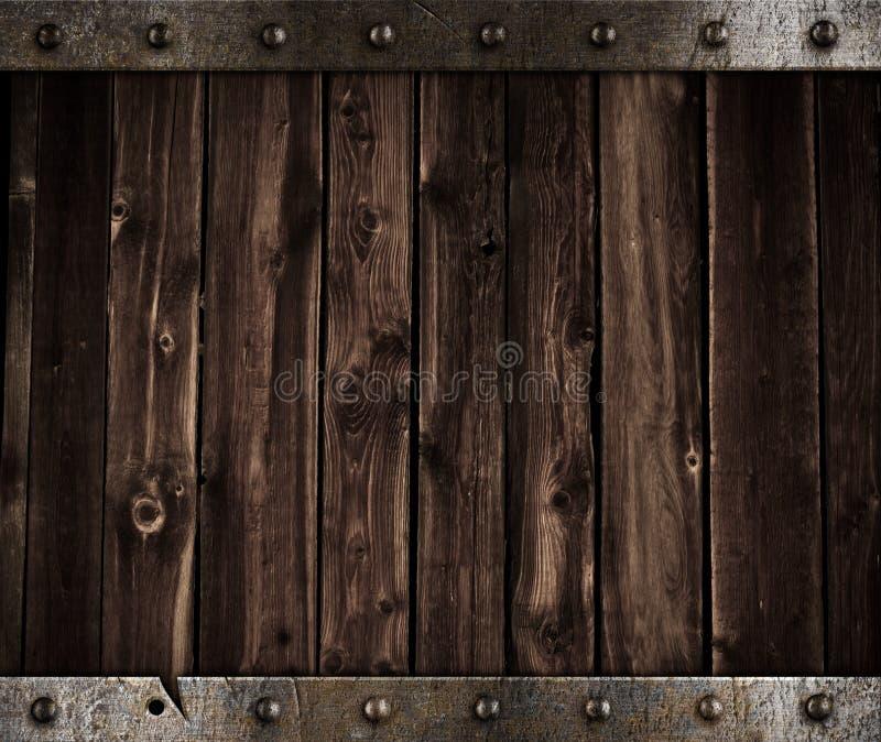 Metal e fundo medieval de madeira fotografia de stock