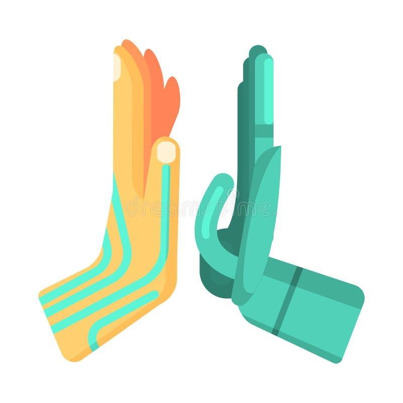Metal e mãos humanizadas de Android que dão a elevação cinco entre si, a parte da série futurista robótico e da TI da ciência de ilustração do vetor