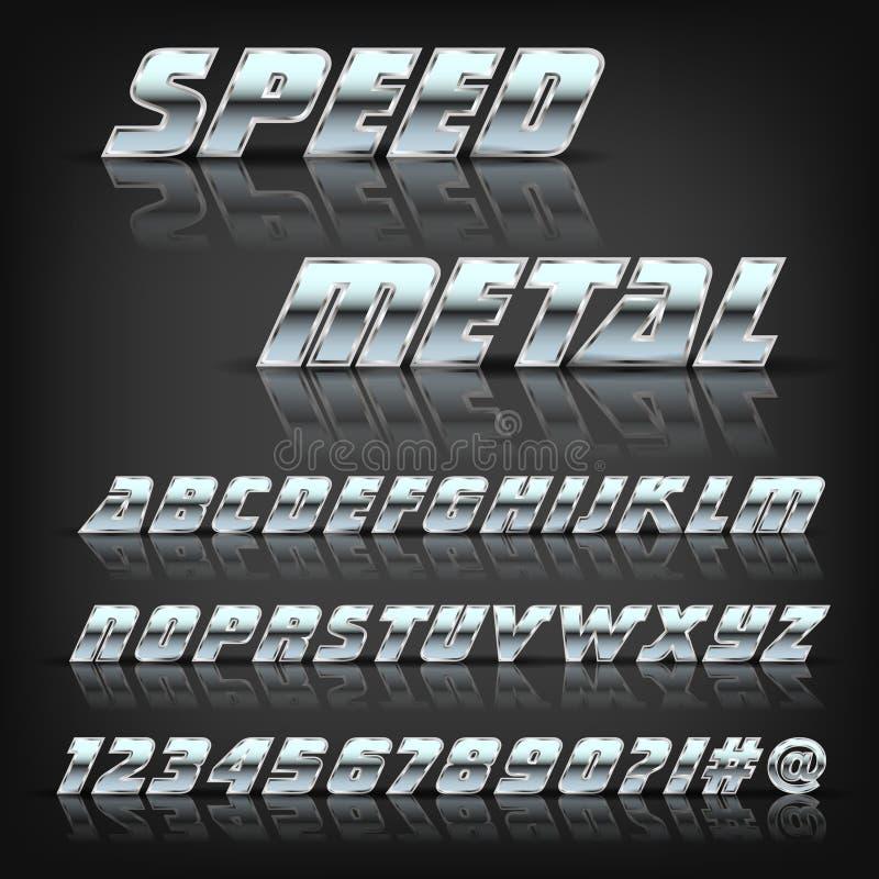 Metal el alfabeto y los símbolos con la reflexión y la sombra Fuente para el diseño stock de ilustración