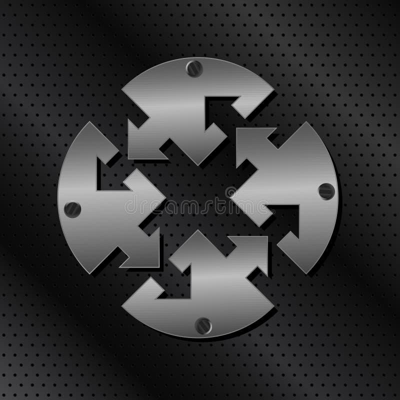 Metal el círculo con las flechas stock de ilustración