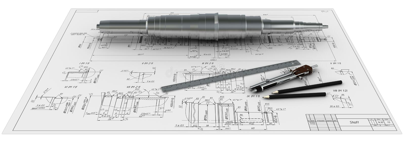 Metal el eje, los compases, las reglas y los lápices en una e stock de ilustración