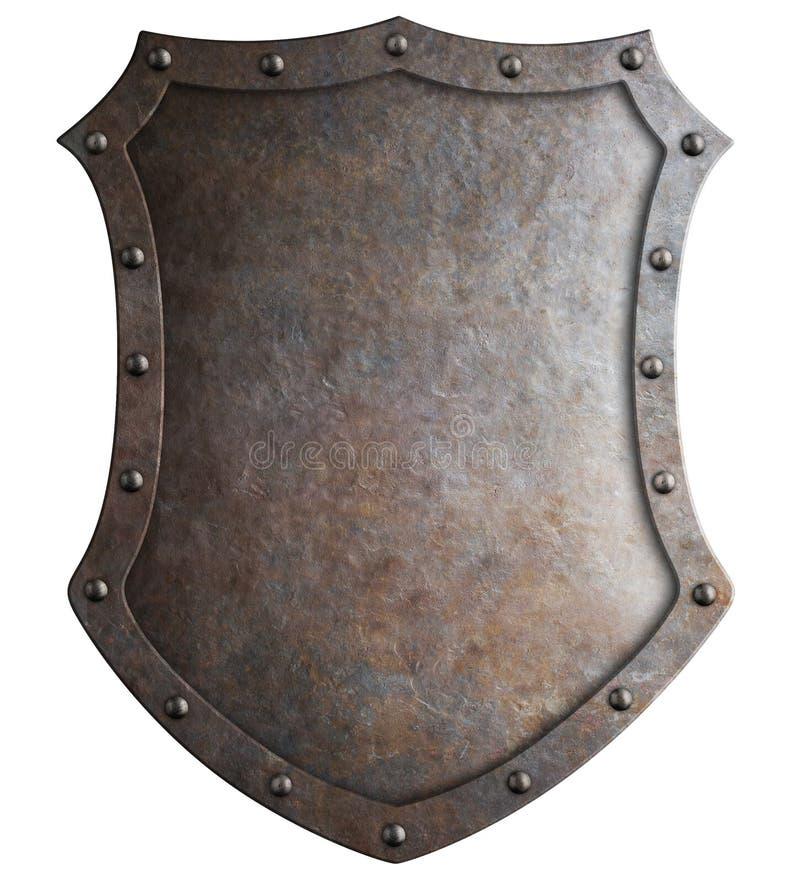 Metal el escudo alto medieval o el ejemplo aislado escudo de armas 3d libre illustration
