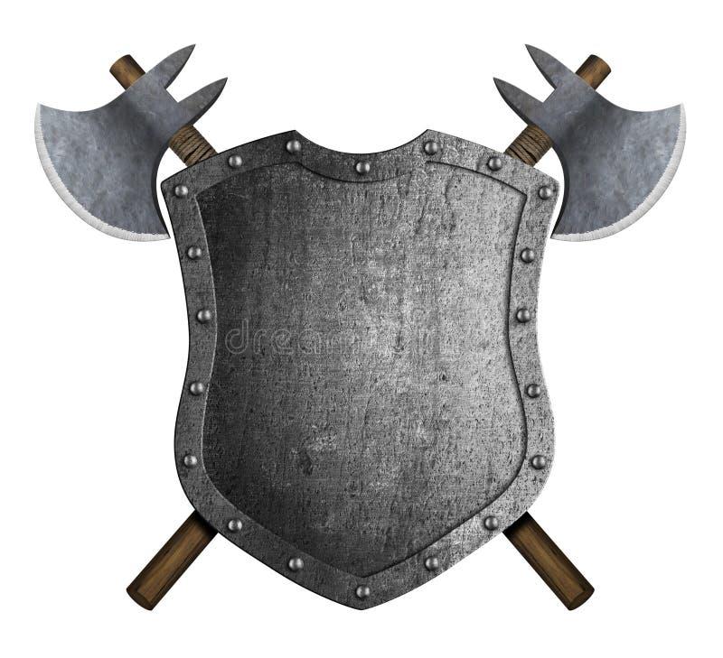 Metal el escudo heráldico medieval con el ejemplo cruzado de las hachas 3d de la batalla ilustración del vector