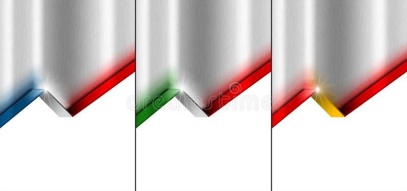 Metal el fondo con la bandera 4, el francés, el español y el italiano ilustración del vector