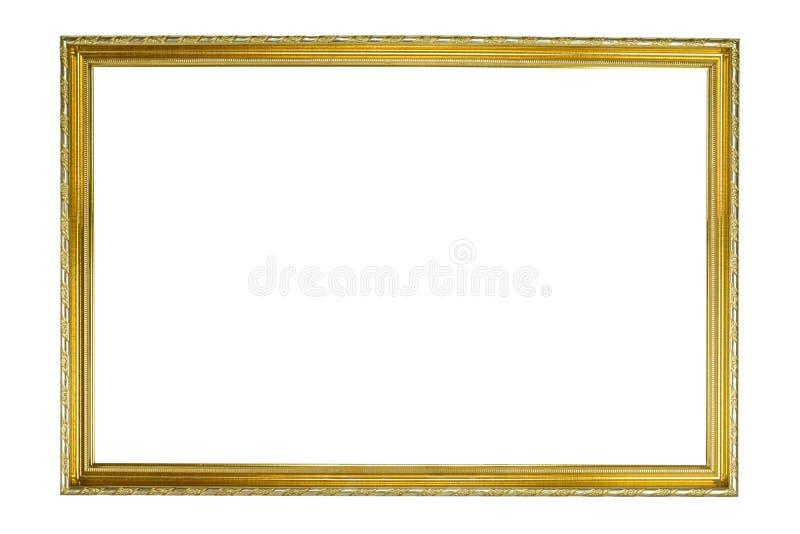 Metal el marco del oro para casarse o la fotografía de la familia en blanco imágenes de archivo libres de regalías