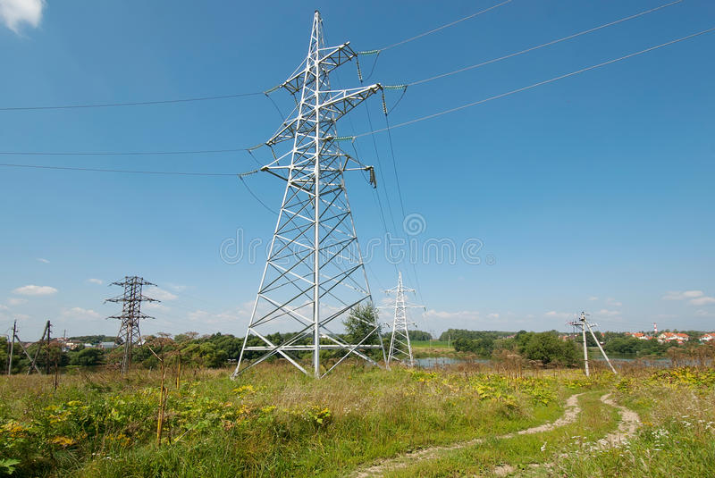 Metal electric post on field royalty free stock photos