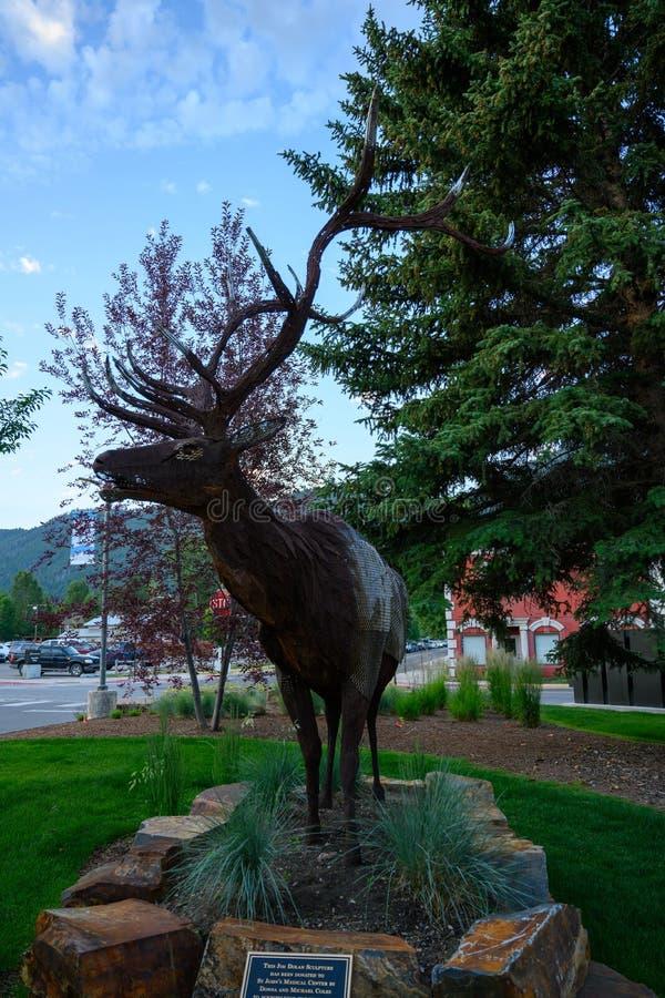 Metal Elk Sculpture in Jackson. Jackson Hole, United States: July 22, 2019: Metal Elk Sculpture in Jackson stock photography