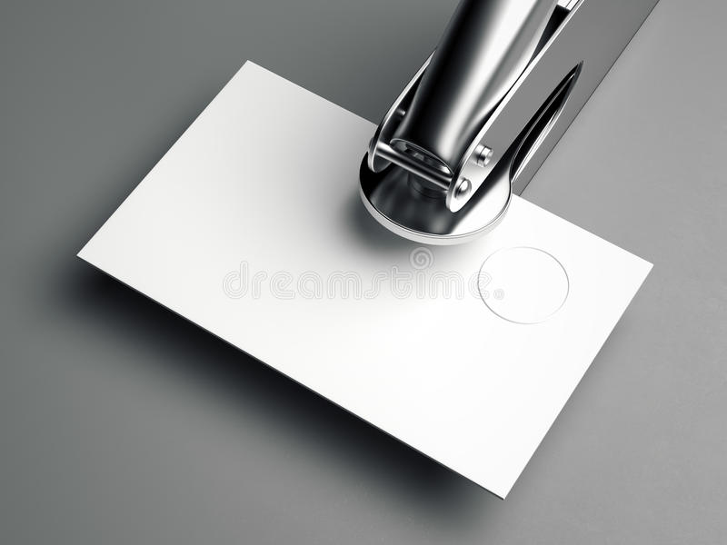 Metal Embosser With Blank Business Card. 3d Rendering Stock Image ...