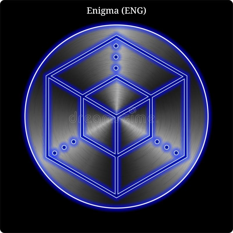 Metal Enigma (ENG) coin witn blue neon glow. stock illustration