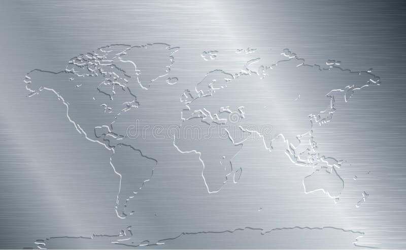 Metal escovado com mapa do mundo ilustração stock