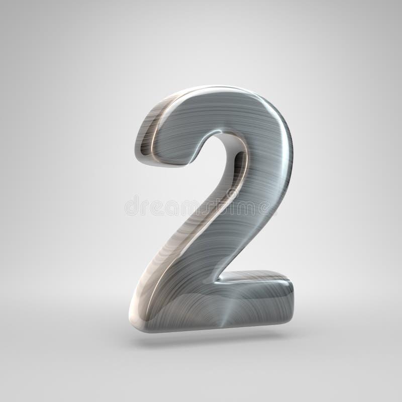 Metal escovado número 2 3D rendem a fonte brilhante do metal isolada no fundo branco ilustração stock