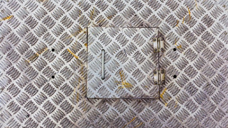 Metal factory floor, brushed metal texture, Old stainless steel. Floor plate with cover, steel plate sheet coil for Floor board, factory stair boards stock photos