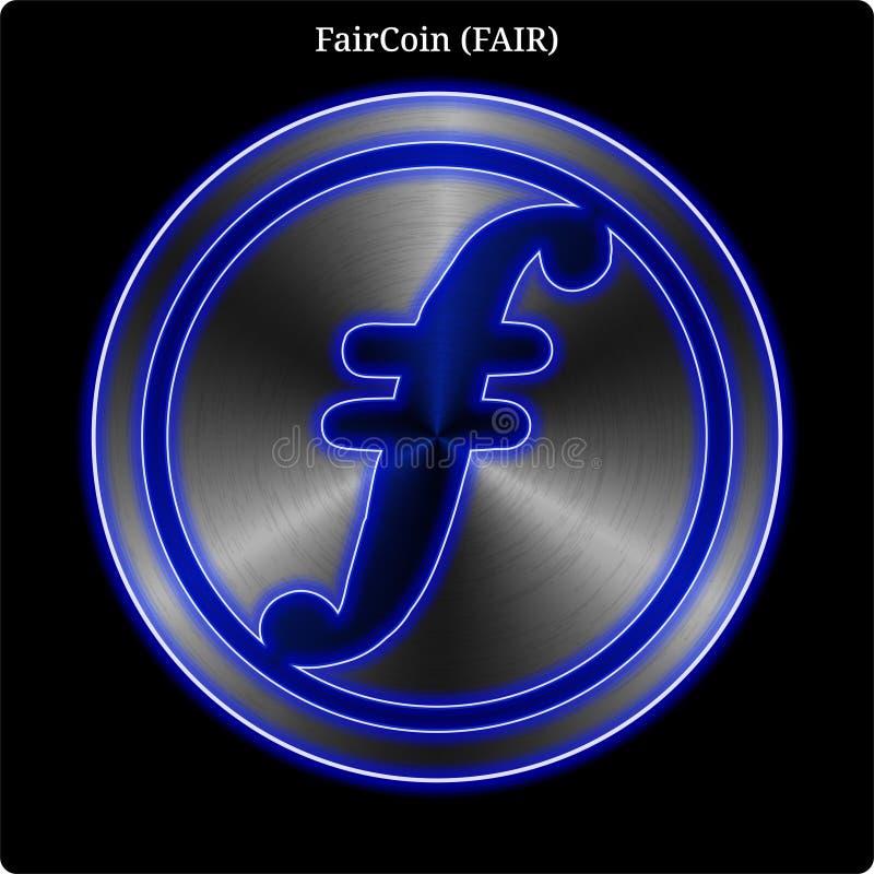 Metal FairCoin FAIR coin witn blue neon glow. stock illustration