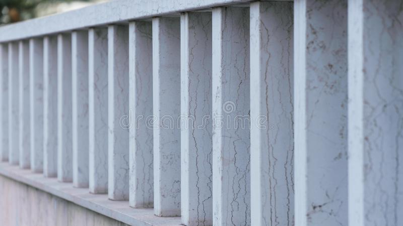 Metal fence of blue color with rust royalty free stock photography