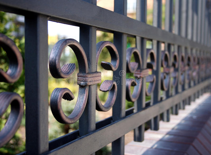 Metal fence - close-up royalty free stock image