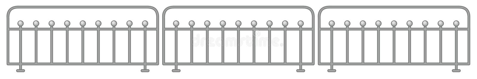 Metal fence design on white background. Illustration stock illustration