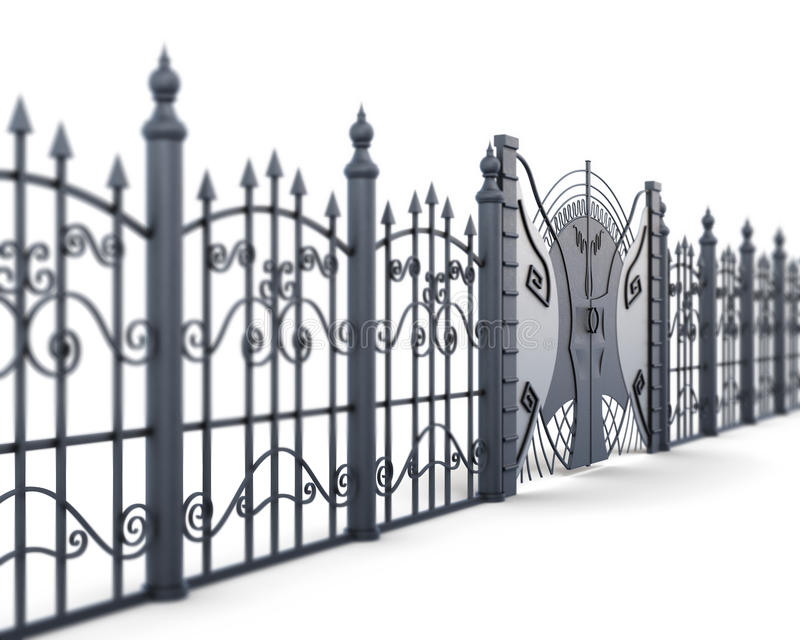 Metal fence and gate on a white background, view angle. 3d rende. Ring royalty free illustration