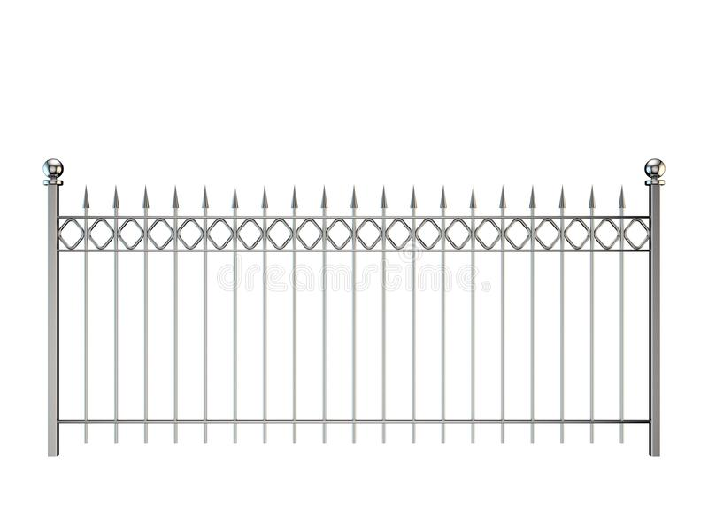 Metal fence. Isolated on white background. 3D rendering illustration. vector illustration