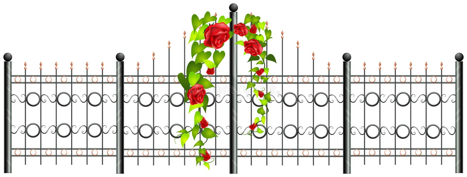 Metal fence and roses vector illustration
