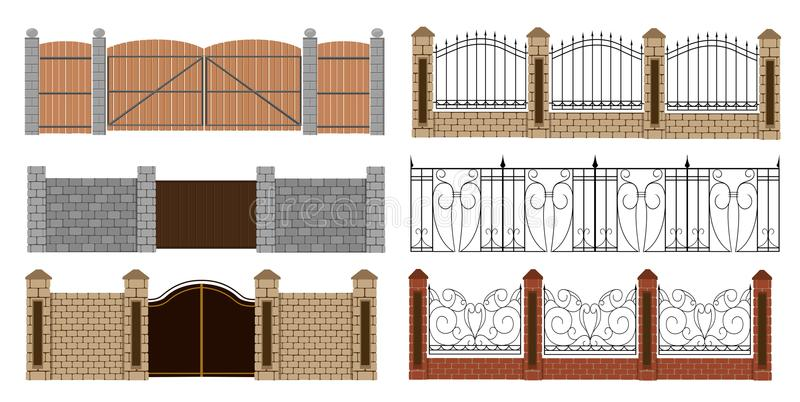 Metal fences and gates in flat style. Simple illustration. Web site page and mobile app design vector illustration
