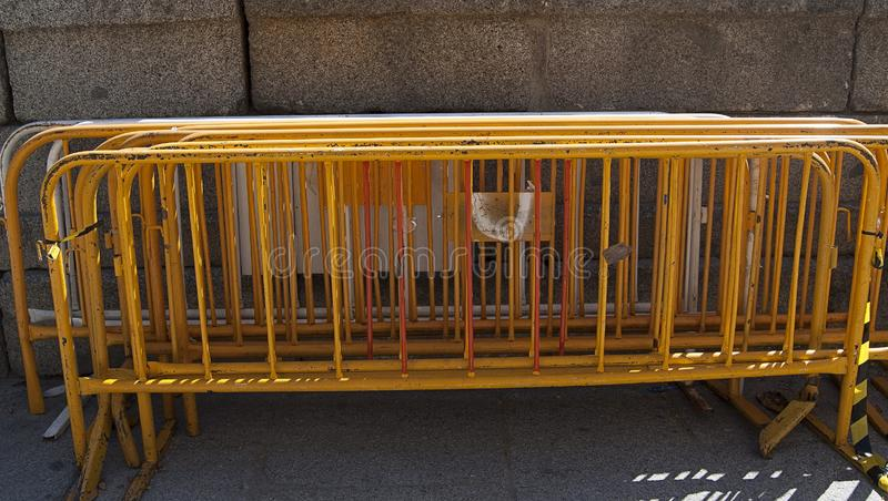 Metal fences to fence a land or place. Frame in the street to delimita stock photography