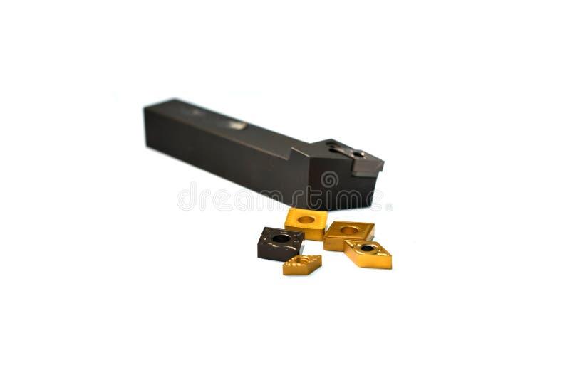 Metal ferramentas/equipamentos de trituração com o suporte para a máquina do CNC para a indústria pesada no fundo branco fotografia de stock royalty free