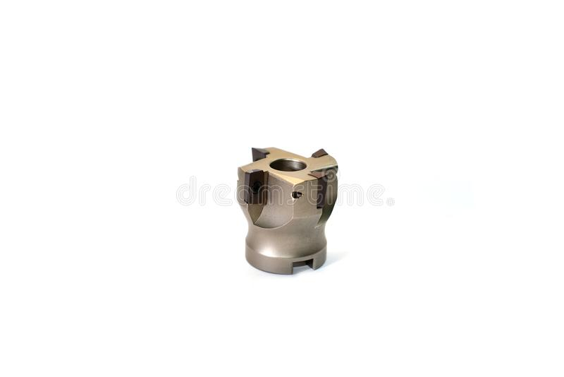 Metal ferramentas/equipamentos de trituração com o suporte para a máquina do CNC para a indústria pesada no fundo branco imagem de stock