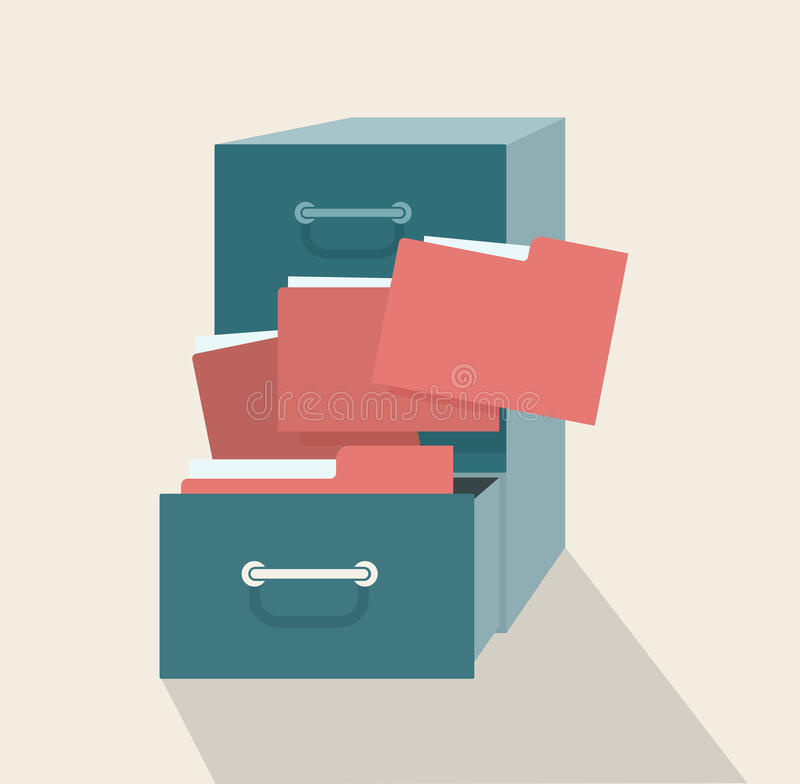 Metal filling cabinet with red folders royalty free illustration