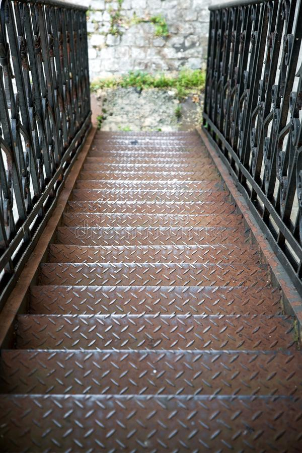 The metal fire escape. royalty free stock photography