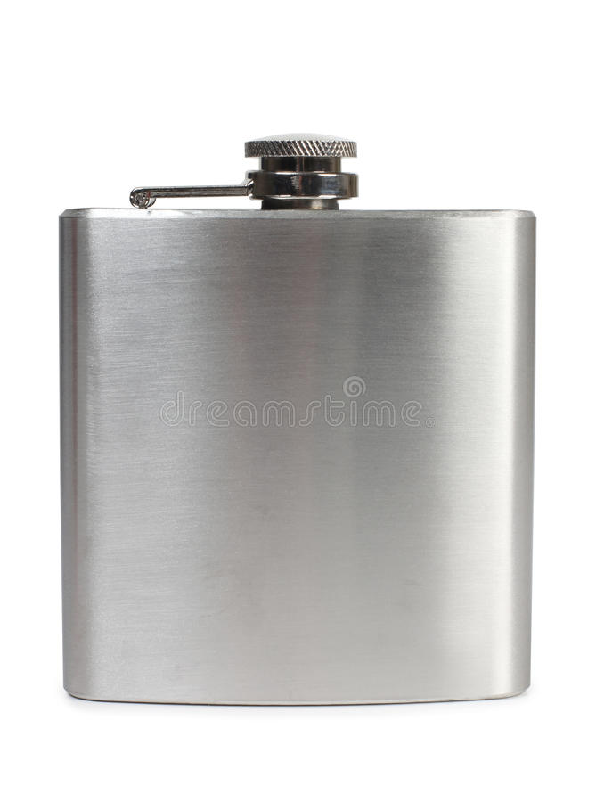 Metal flask. Flat metal flask and whiskey glass on white background royalty free stock images