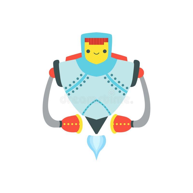 Metal forte que voa a ilustração amigável dos desenhos animados do vetor do caráter do robô de Android ilustração do vetor