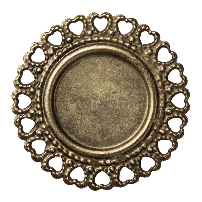 Metal frame. Vintage brass metal frame, isolated stock image