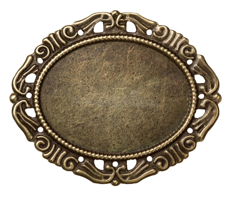 Metal frame. Vintage brass metal frame, isolated royalty free stock photo