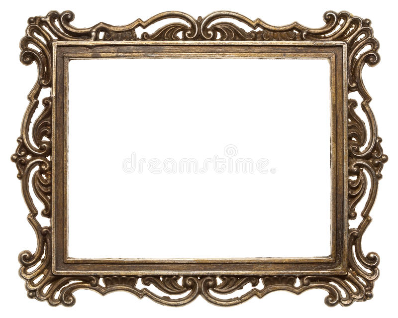 Metal frame. Vintage brass metal frame, isolated stock photo