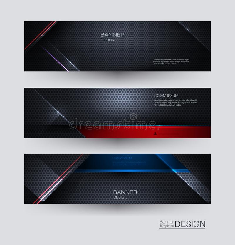Metal frame banners set design for background. Illustration abstract blue, red, black metallic with light ray and glossy line. vector illustration