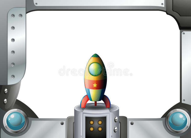 A metal frame border with a spaceship. Illustration of a metal frame border with a spaceship stock illustration